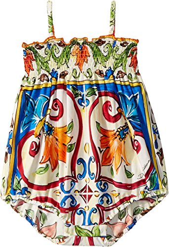 Dolce & Gabbana Kids Baby Girl's Romper (Infant) Maiolica Print 12-18 by Dolce & Gabbana (Image #1)