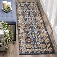 Safavieh Bijar Collection BIJ653B Traditional Oriental Vintage Royal Blue and Ivory Runner (23 x 12)