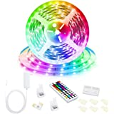 Led Strip Lights, 16.4ft/5M 24V RGB Color Changing Led Strip Lights with 44 Keys RF Remote Controller 5050 LED Rope…