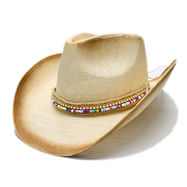 ZITEZHAI-hat Comfortable Women Straw Western Cowboy Hat with DIY Handmade  Weave Lady Dad Sombrero 290e2c4b0e2