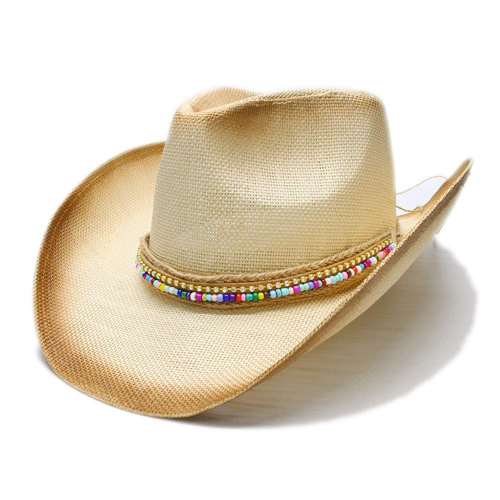 GeorgeB- Straw Western Cowboy Women Hat with DIY Style Handmade Weaven Lady Dad Sombrero Hombre Cowgirl Jazz (Color : Natural, Size : 58cm)
