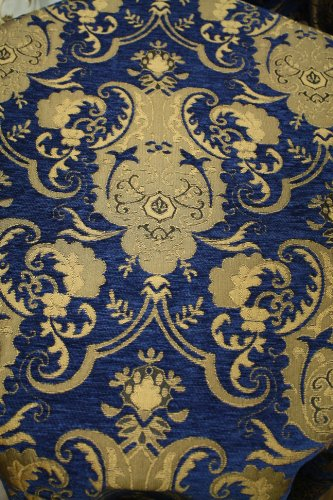 Chenill Damask Fabric, Color Blue/gold, Sold By the Yard 58