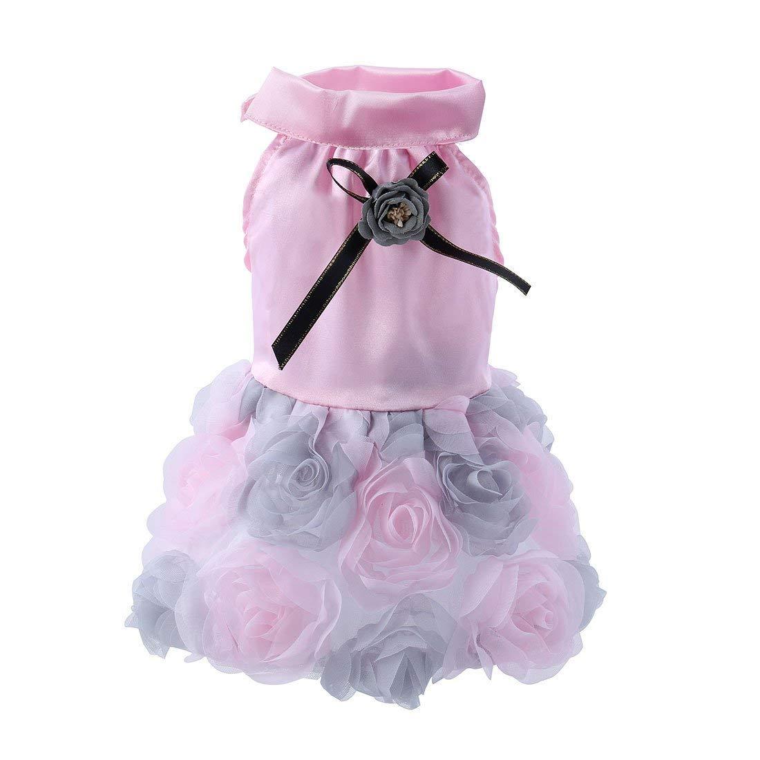 1Pc M, Pink   Fashion Floral Dog Dress Puppy Pet Tutu Dress Party Weddiong Dress