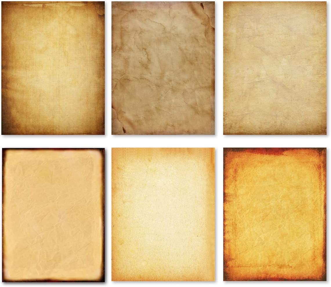 Stationery Paper - Old Fashion Aged Classic Antique & Vintage Assorted Design – Double-side Parchment Paper - Perfect for Certificate, Crafting, Invitations & other Art Projects - 8.5x11 Inches (120) : Office Products