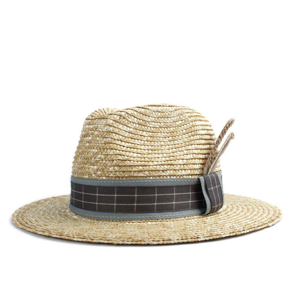 MUMUWU Sun Hat Women Straw Cap Elegant Two Feathers Fashion Hat Beach Sun Hat Jazz Hat Men Summer Panama Hat (Color : 1, Size : 56-58CM)