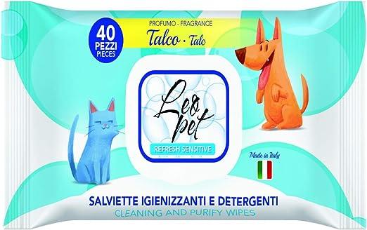 Leopet - Toallitas desinfectantes y limpiadoras para Perros y Gatos con Perfume de Talco, 40 Unidades: Amazon.es: Productos para mascotas