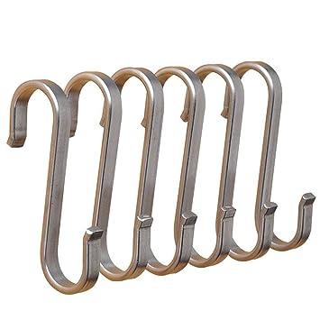 Ganchos en forma de S resistentes para colgar cucharas de cocina, sartenes, utensilios de cocina, toallas, plantas y herramientas de jardinería: Amazon.es: ...