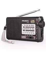 Radio PRUNUS J-01, Excellent Réception FM/AM(MW)/SW, Support microSD avec MP3 WMA, Transistor DSP, Batterie Rechargeable et Remplaçable de 2200mAh (20h d'écoute)