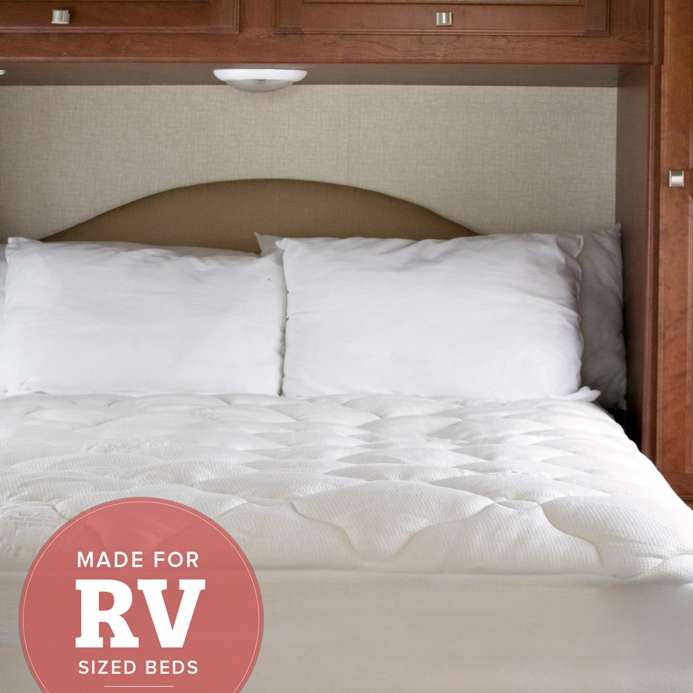 RV Mattress Pad - Extra Plush Bamboo Topper with Fitted Skirt - Made in the USA - Hypoallergenic - Mattress Cover for RV, Camper - Short Queen
