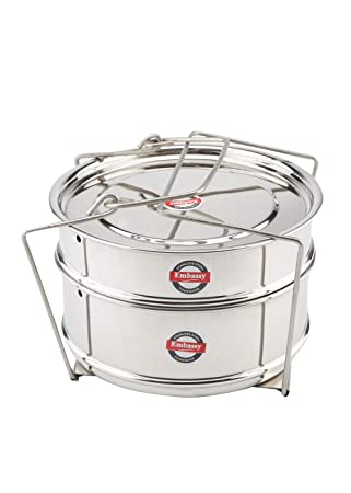 Embassy SS Cooker Separator P4 Suitable for 5 litres Prestige Apple Plus Aluminium/Apple Plus Red/Apple Duo Hard Anodised Inner Lid Pressure Cookers (2 Containers with Lifter, Stainless Steel)