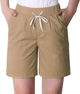 Women's Modest Loose Elastic-Waisted Bermuda Drawstring Casual Shorts