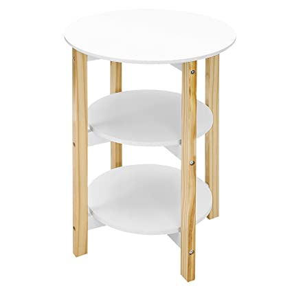 SONGMICS 3 Tier Round End Table With Pine Wood Legs, Storage Rack Sofa Side