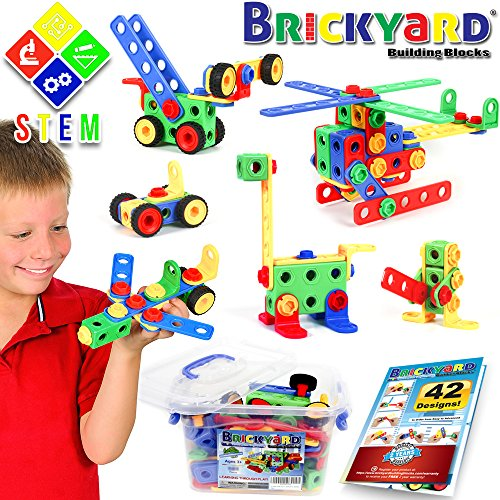 101 Piece STEM Toys Kit, Educational Construction Engineering Building Blocks Learning Set for Ages 3 4 5 6 7 8 9 10 Year Old Boys & Girls by Brickyard, Best Kids Toy, Creative Games & Fun Activity (Best Gifts For 3 Year Old Boy)