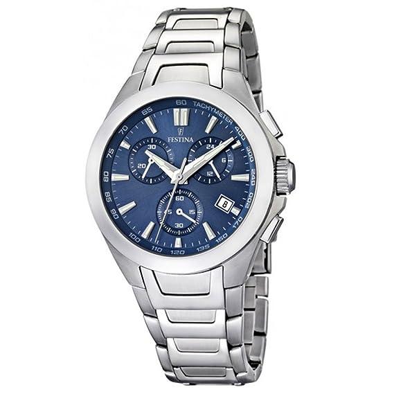 FESTINA F16678/2 - Reloj cronógrafo de cuarzo para hombre con correa de acero inoxidable, color plateado: Amazon.es: Relojes