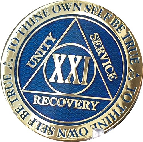 Recoverychip 21 Year Reflex Blue Gold Plated AA Medallion Alcoholics Anonymous Chip