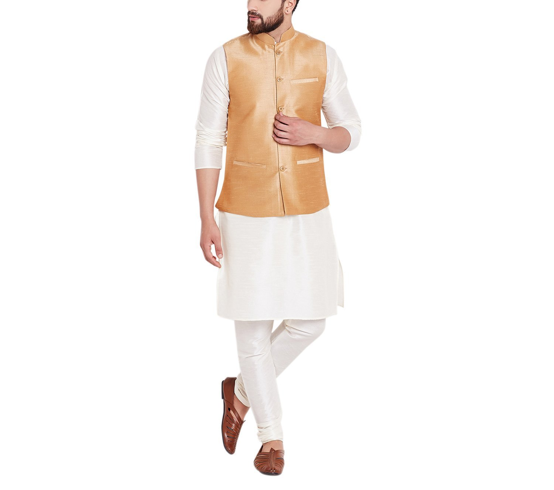Sojanya Men's Dupion Silk Nehru Jacket XX-Large Gold