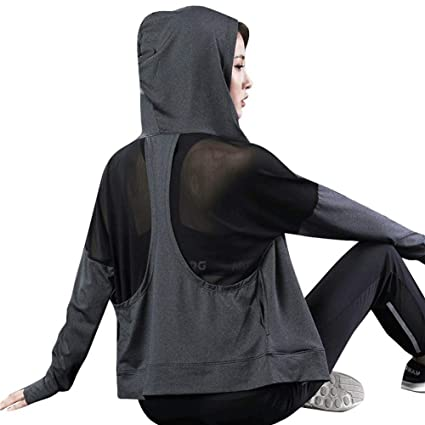 DAGUAISHOU Yoga Top Chaqueta con Capucha De Manga Larga ...