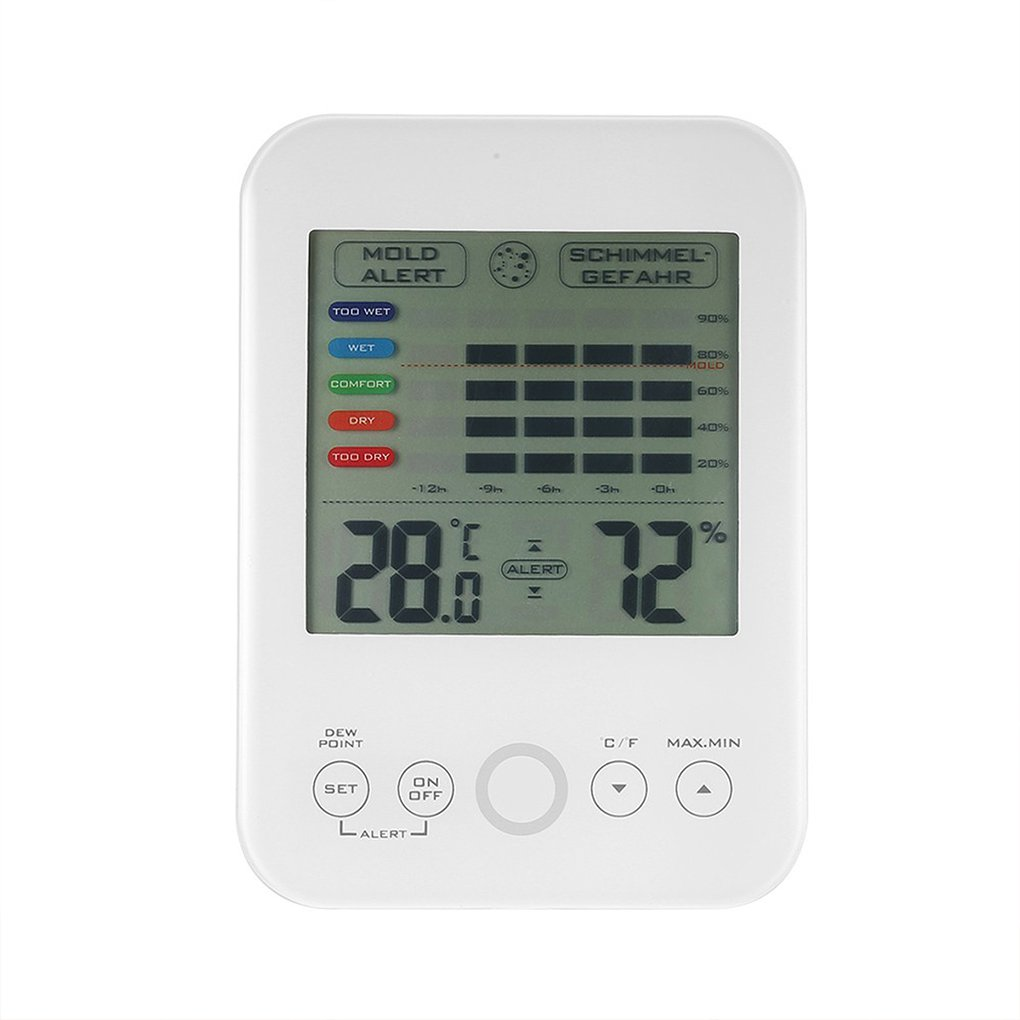 Mallb LCD Digital Indoor Thermometer Hygrometer Mold Alert Comfort Level Display Home Temperature Humidity Meter Tester