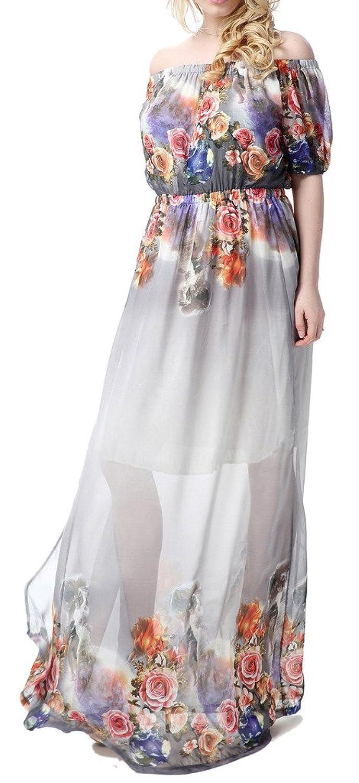 Wantdo Damen Maxi Boho Bohemian Halter Strand Kleid Plus Größe