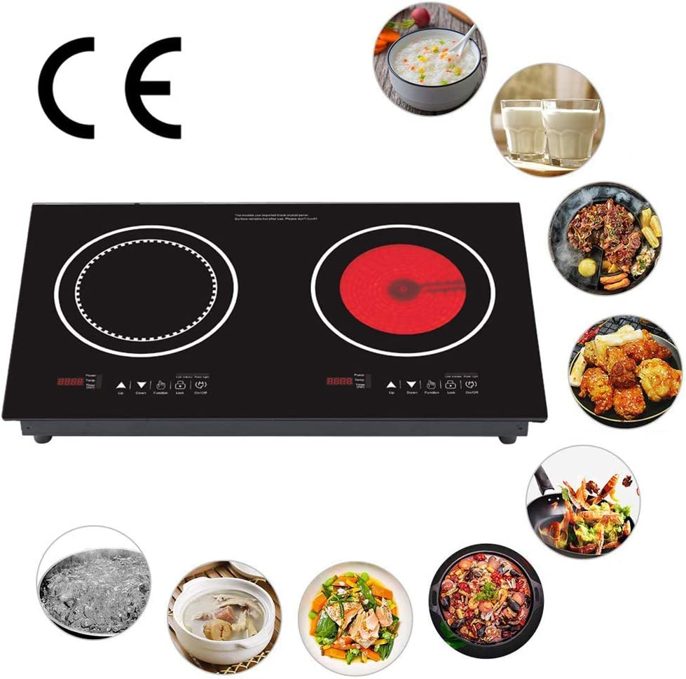 Horno eléctrico, Incorporado Vitrocerámica 2 Zonas Estufa eléctrica de sensores táctiles Controles de Bloqueo for niños Cocina Temporizador de ZHNGHENG