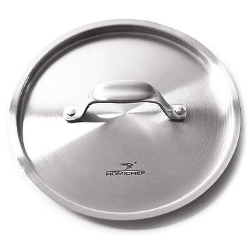 HOMICHEF - Tapa de acero inoxidable sin níquel para ollas y sartenes (plata, pulido