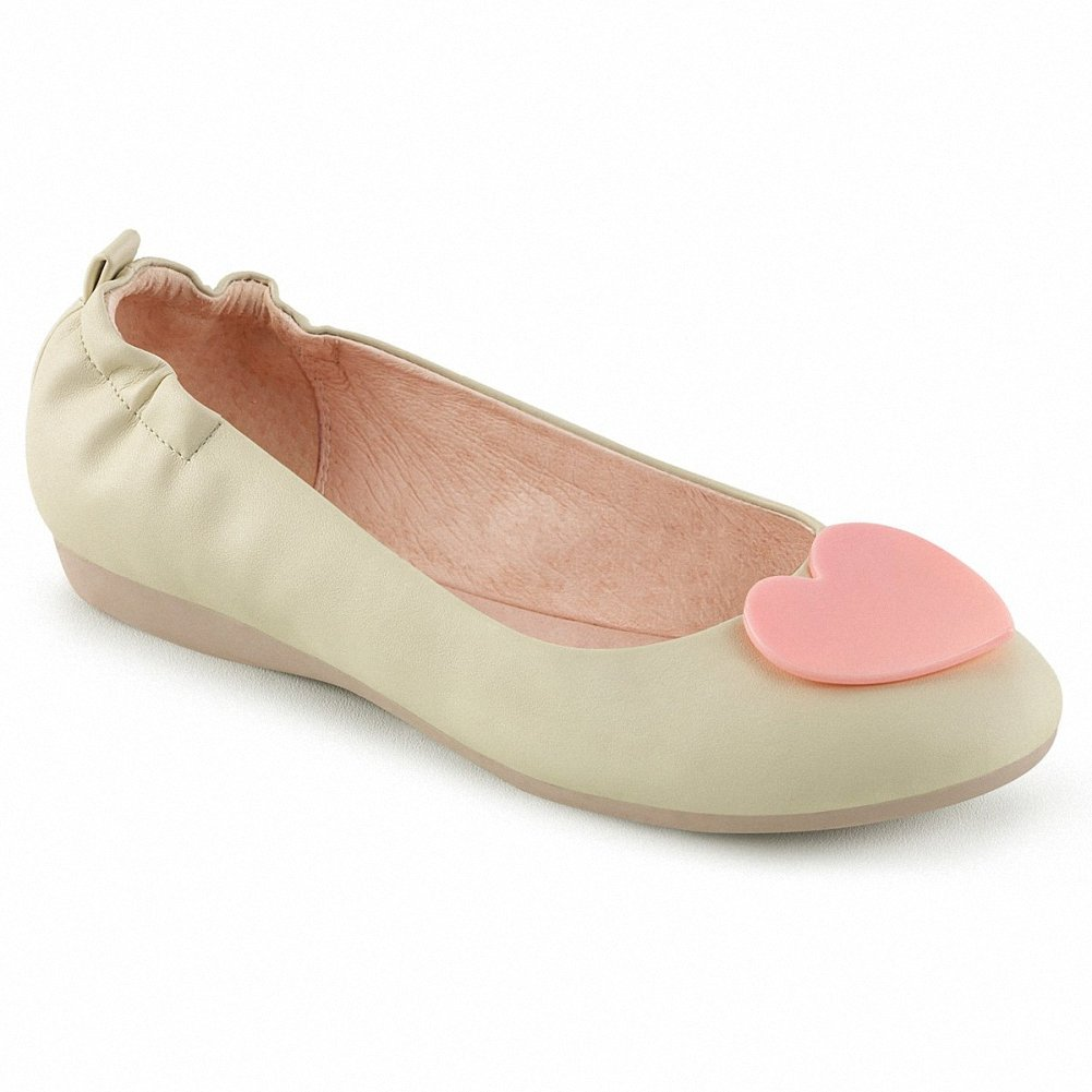 Pin Up Couture OLIVE-05 Women Round Toe Foldable Ballet Flats w/Heart Adornment at Toe B074F3X8MF 10 B(M) US|Cream Faux Leather