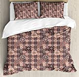 Arabian King Size Duvet Cover Set by Lunarable, Retro Colored Pattern with Quatrefoil Moroccan Flowers in Squares Patchwork Style, Decorative 3 Piece Bedding Set with 2 Pillow Shams, Multicolor