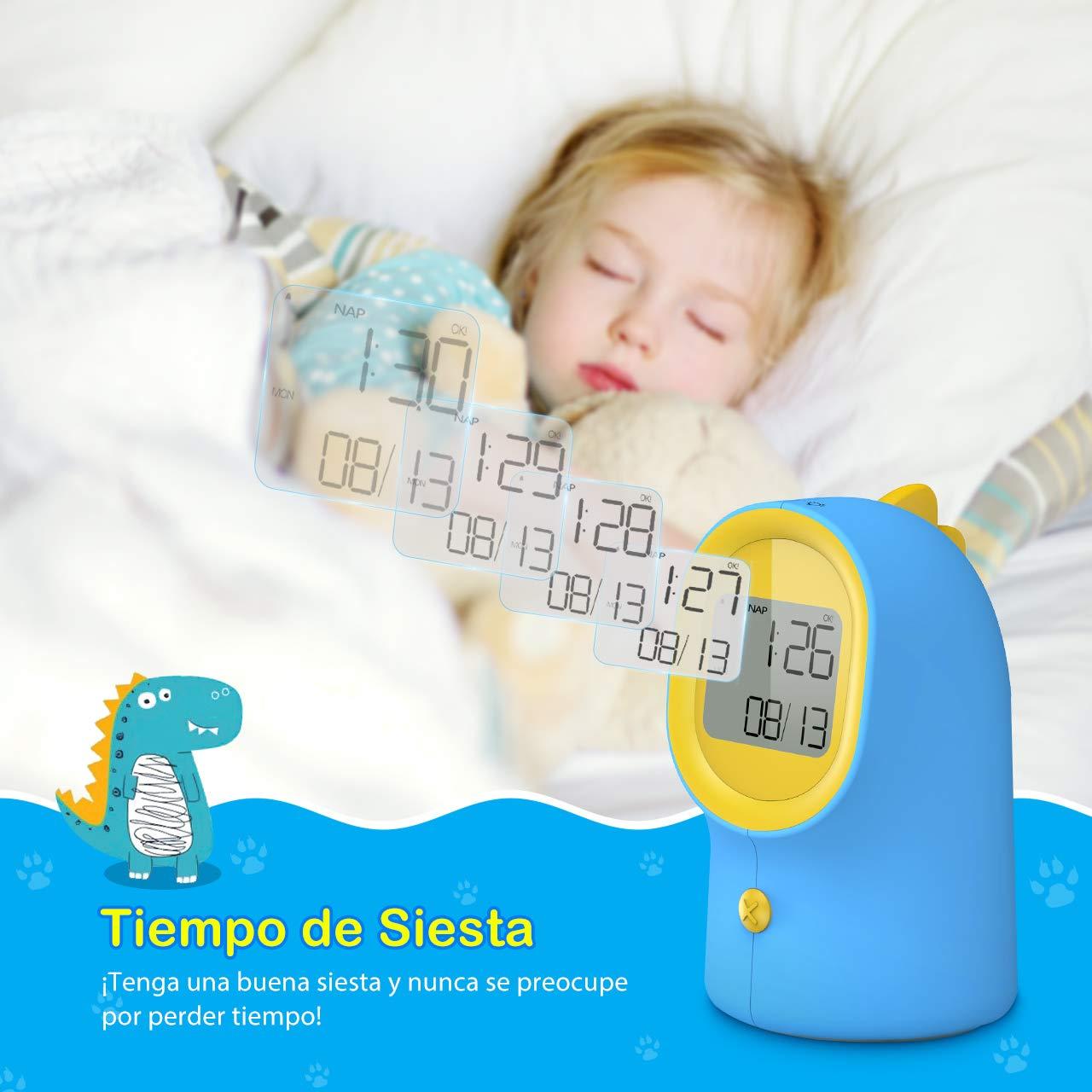 Holife Despertador Infantil, Despertador Digital para Niño con Luz Nocturna, Función Snooze/Siesta, 2 Sonido& Volumen, Reloj con Calendario, Niños Aprenden ...