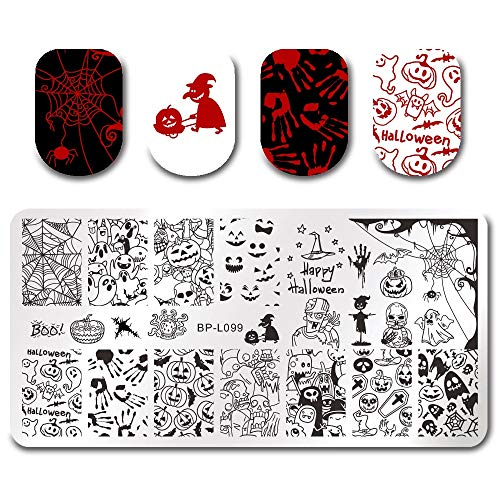 Xemesis-Store - Rectangle Stamping Plate - gel nail polish Nail Stamping Plate Rectangle Halloween Pumpkin Ghost Image Stamp Manicure Template Art Stencil - by Xemesis-Store - 1 PCs ()