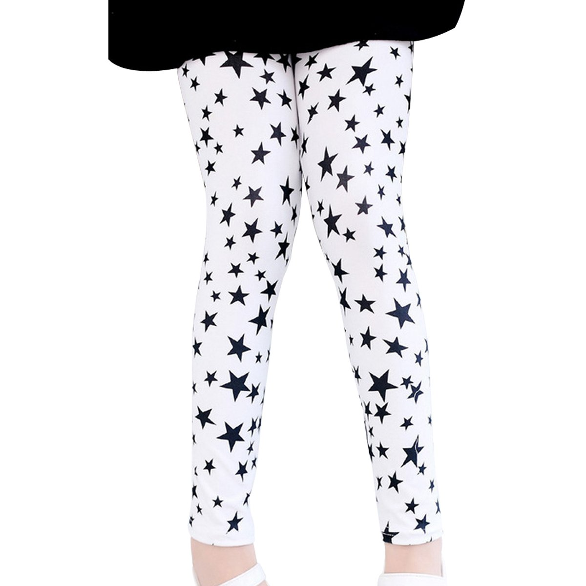Aivtalk Little Girls Fashion Cute Warm Star Print Elastic Legging Pants White 7