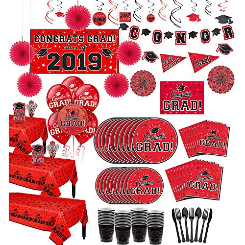 Party City Super Congrats Grad Red 2019 Graduation Party Supplies for 54 Guests with Banner, Tableware and -