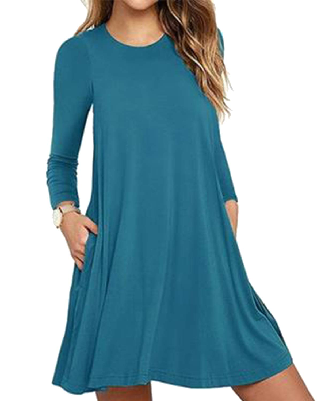 Deesdail Loose Dresses for Women Knee Length, Ladies Scoop Neck Long Sleeves Plain Shirts Lightweight Swing Dress with Pockets Midi Tunic Dark Cyan