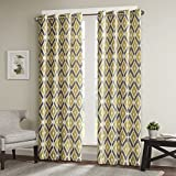 Yellow Curtains For Living room, Modern Contemporary Yellow Window Curtains For Bedroom, Ashlin Geometric Fabric Grommet Window Curtains, 50X84, 1-Panel Pack
