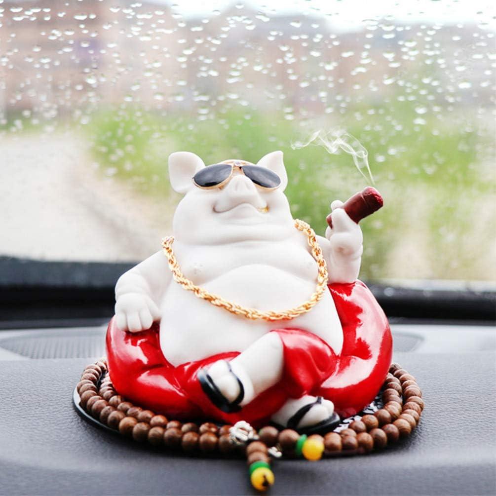 Yellow Dog VOSAREA Car Dog Doll Ornament Car Interior Decor Smoking Dog Doll Desktop Ornament for Car Vehicle