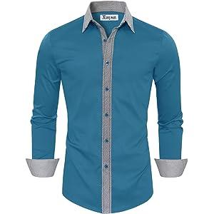 cdb9f455 TAM WARE Mens Casual Slim Fit Contrast Lining Button Down Dress Shirts