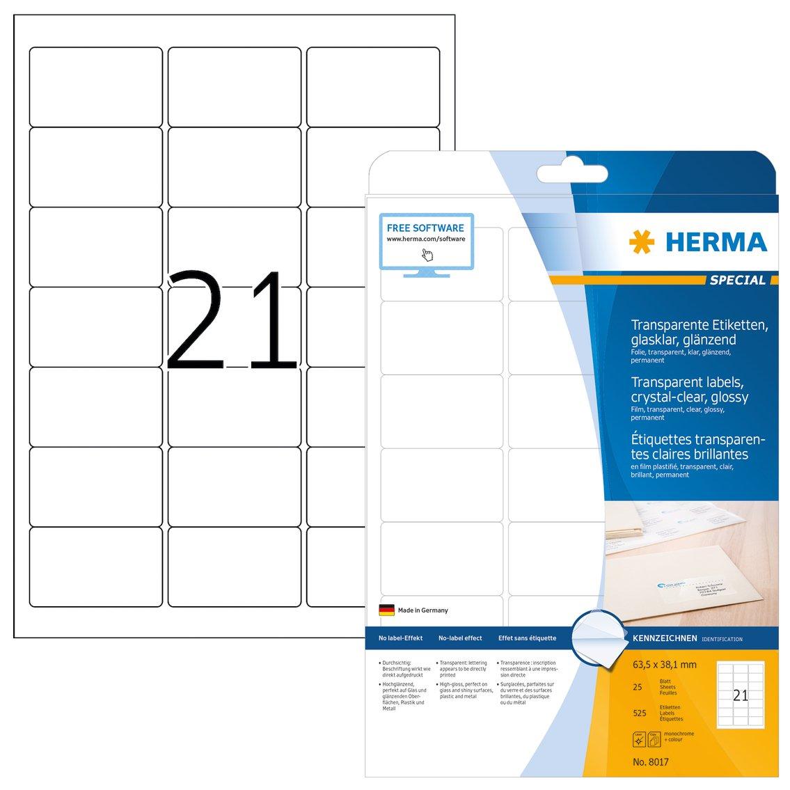 Herma Labels film silver 63,5x38,1 SuperPrint LaserCopy