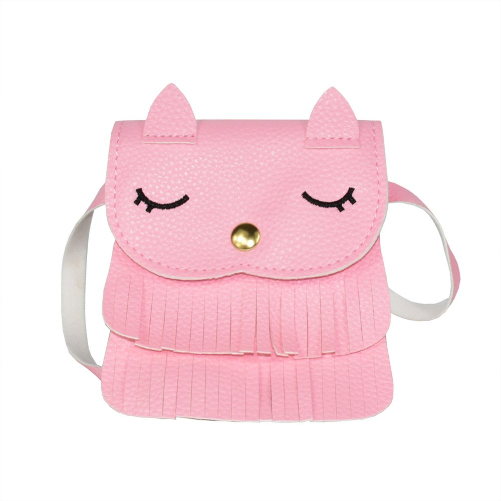 Little Girls Cute Pink Cat Tassel Purse Mini Crossbody Small Shoulder Bag for Toddler, Kids
