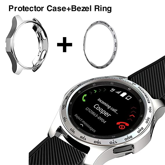 b8ffff9c5858 [2 Pack]JZK Samsung Galaxy watch 46mm/Gear S3 Frontier & Classic Bezel Ring  Styling,Adhesive Cover Anti Scratch & Collision Protector Bezel ...
