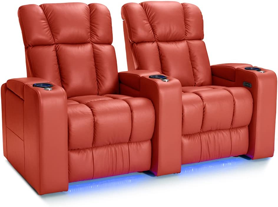 Amazon Com Palliser Collingwood Leather Home Theater Seating Power Recline Row Of 2 Red Home Improvement
