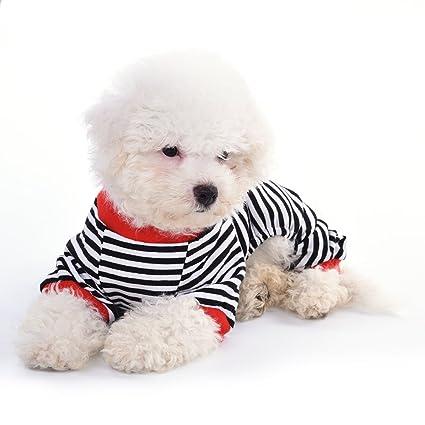 Awhao Pijamas de perros Ropa para mascotas Ropa de algodón Pijama de rayas