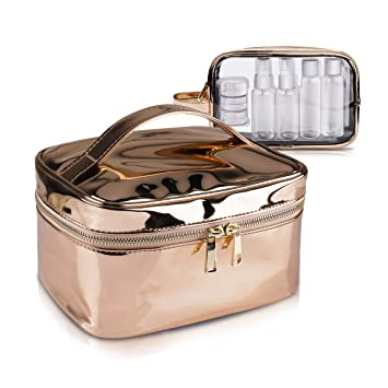 52d91c87a468bf Cosmetic Bag & Clear Toiletry Bag Set, Morpilot Fashionable Portable Women  Makeup Cosmetic Travel Bags