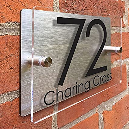 Amazon com: ThedisplayDeal Modern House Number Plaque, Acrylic Front