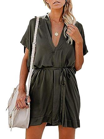 Robes Col En Ceinture Avec V Robe Tunique Elegante Manche Femme Courte Tomwell Mini sdCotrxhQB