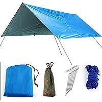 HelloCreate Lona de Camping Lona de Tienda Resistente a Los UV Lona de Camping Impermeable Lona de Playa Plegable…