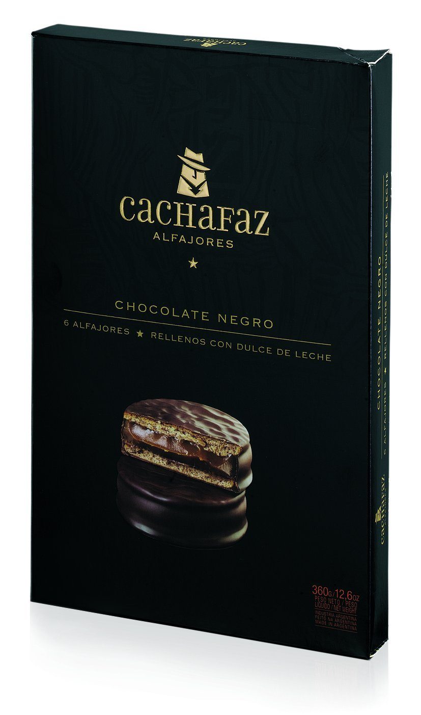 Amazon.com : Cachafaz Alfajor Negro - Cookie Sandwich filled with Dulce de Leche and Real Chocolate 12Unit : Gourmet Food : Grocery & Gourmet Food