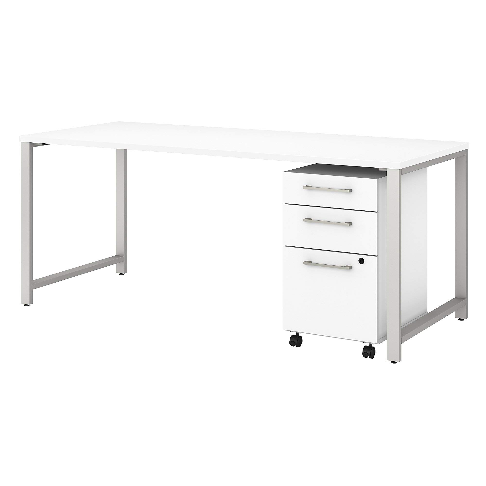 Bush Business Furniture 400S151WH 400 Series Table Desk with 3 Drawer Mobile File Cabinet, 72W x 30D, White