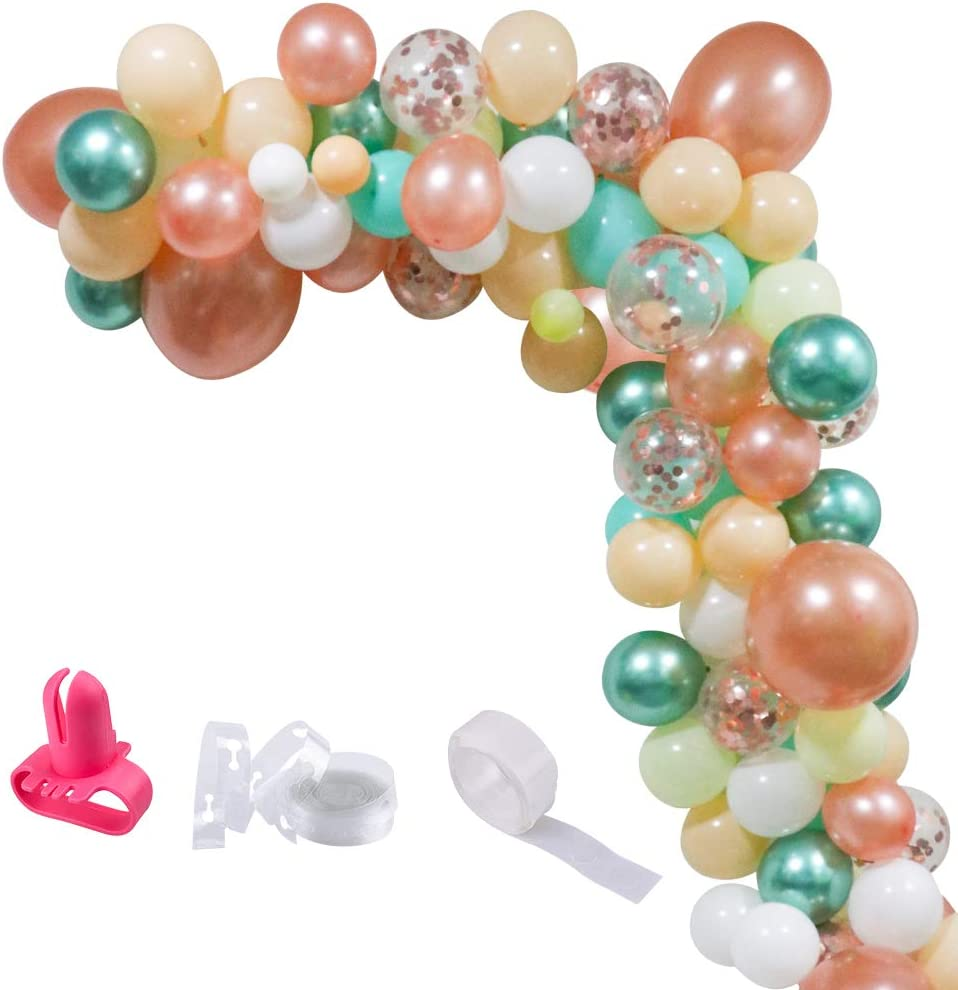 UTOPP Balloon Garland Kit & Balloon Arch, Baby Shower Balloons Decorations Backdrop Arch Garland, Teal and Rose Gold Confetti Latex Balloons Champagne Sea White Balloons Metallic Green Balloons 95Pcs