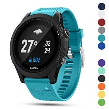 iFeeker Correa para reloj deportivo Garmin Forerunner 935 GPS, de 22 mm de ancho, de silicona suave, instalación rápida, Cyan: Amazon.es: Deportes y aire ...
