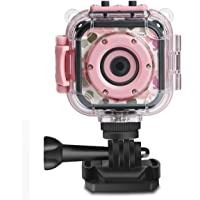 DROGRACE Kids Camera 1080P Digital Photo/Video Cameras Underwater Action Cam Waterproof 98feet  for Children Girls Birthday Holiday Toys with 1.77 LCD and Digital Zoom - Pink
