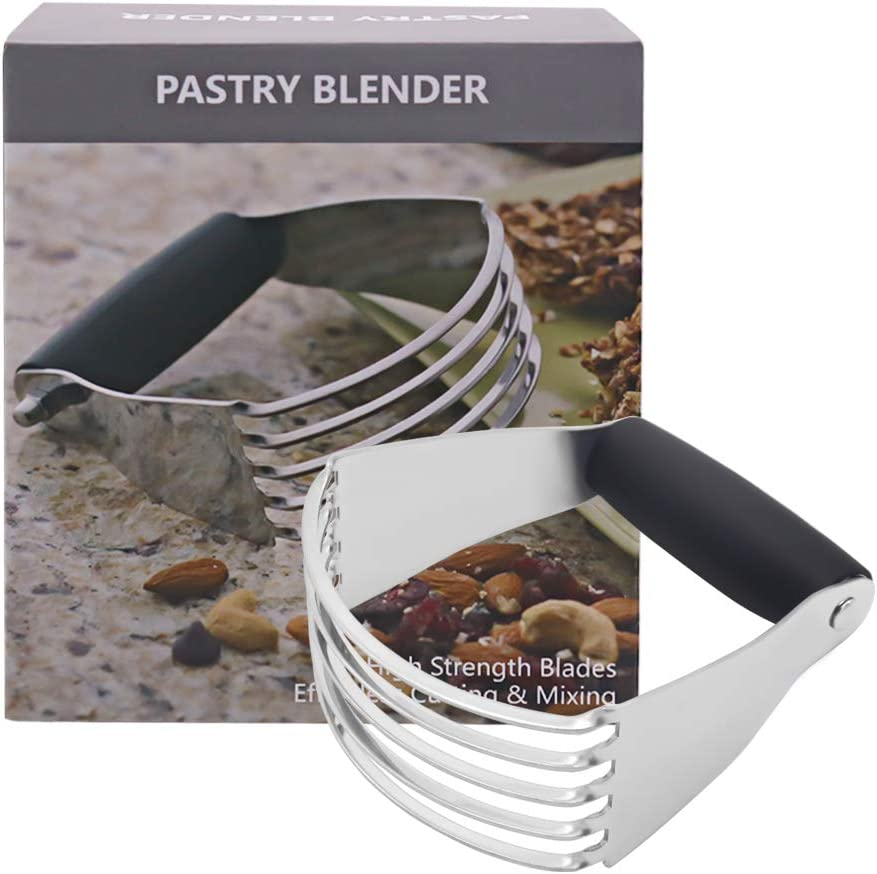 Pastry Blender - Stainless Steel Dough Blender, 5 Heavy Duty Blades and Non-Slip Handle, Pastry Cutter for Cutting Butter, Salad and More, Medium Size
